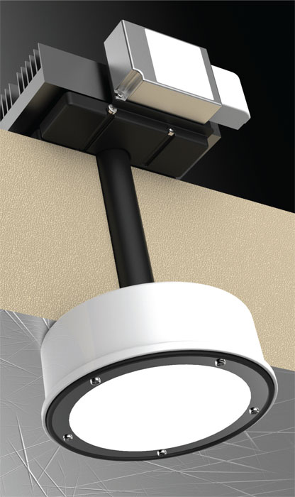 Chil-LED mounted through ceiling insulation